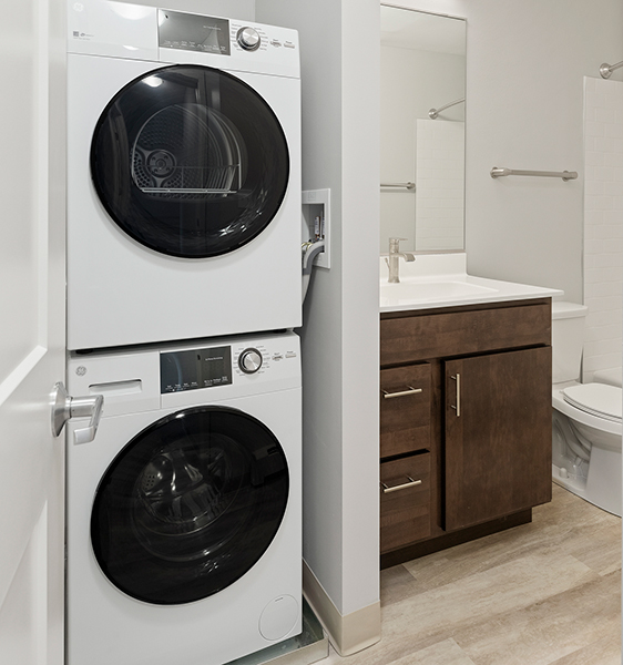 Ballantrae bathroom with washer and dryer